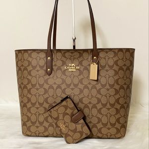New💃Coach Town Tote Signature Canvas + Wallet Set